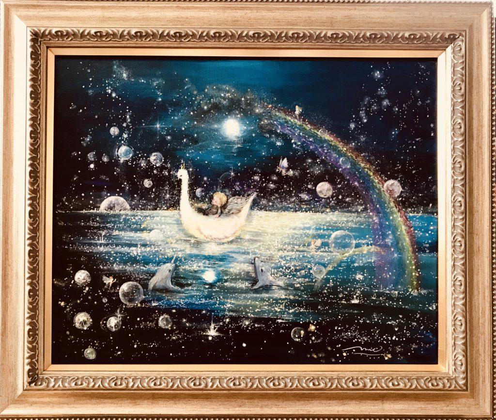 月の子夜の虹